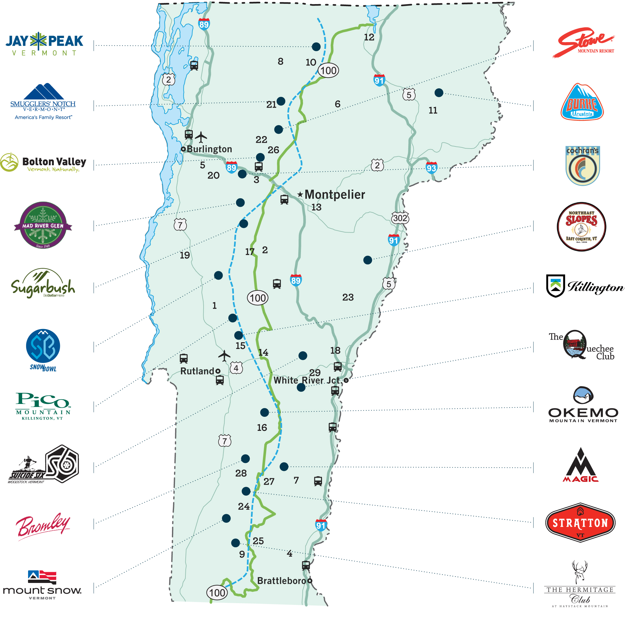 Travel To Vermont Resorts Ski Vermont - Eastern-us-ski-resorts-map